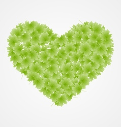 Heart from leaves spring background vector
