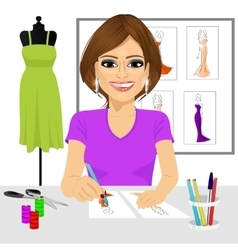 designer drawing dress design sketches vector image
