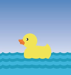 Yellow duck in water rubber duck childrens toy vector