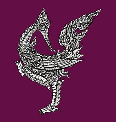 Thai traditional swan on purple background vector