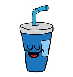 Happy freehand drawn cartoon soda vector