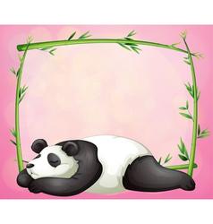 A green frame with a panda sleeping vector image