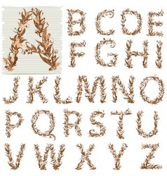 Autumn Floral alphabet letters vector image