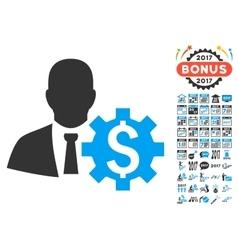 Banker options icon with 2017 year bonus symbols vector