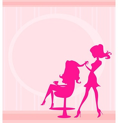 Beautiful woman in hairdressing salon vector