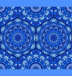 Blue tile hex pattern flower mandala vector