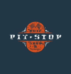 Car pit stop badge with shabby texture vector