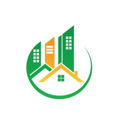 Circle home building cityscape logo image vector