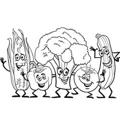 comic vegetables for coloring book vector image