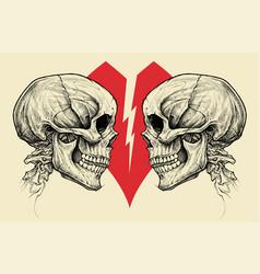 Couple skulls and broken heart symbol vector
