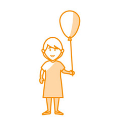 Cute little girl character with balloons air vector