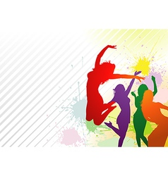 Dancing colorful girls vector