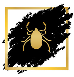 Dust mite sign golden icon vector