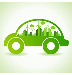 Ecology concept with eco car vector image vector image