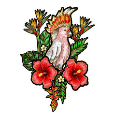 embroidered patches of parrot with flowers vector image