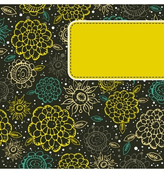 floral background with yellow label vector image vector image