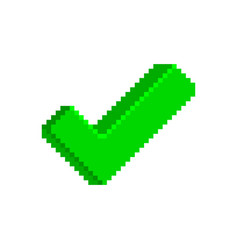 green check mark icon in pixelated style vector image