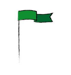 Green flag waving insignia banner symbol vector