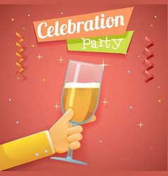 hand hold glass champagne toast pledge celebration vector image