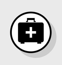 Medical first aid box sign flat black vector