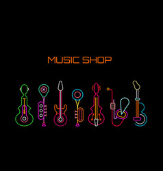 Music shop neon sign vector