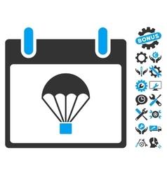 Parachute calendar day icon with bonus vector