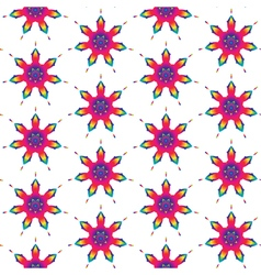 Rainbow seamless pattern of flowers vector