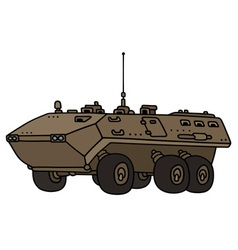 Sand wheeled troop carrier vector