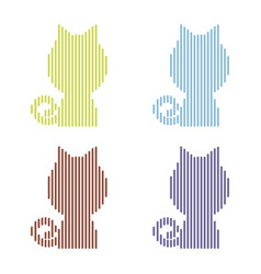set of colorful striped cats on a white background vector image