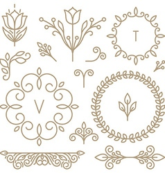 set of line design elements vector image