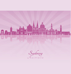 sydney v3 skyline in purple radiant orchid vector image vector image