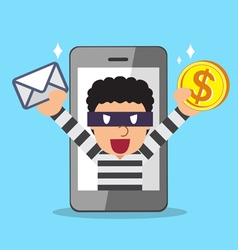 Thief stealing mail and money from smartphone vector image