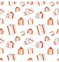 White gift boxes with red tapes and bows seamless vector