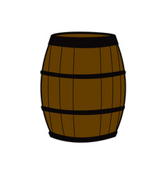 Wooden barrel for wine with steel ring vector