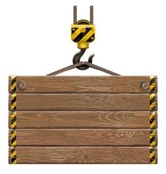 Wooden Frame with Crane Hook vector image