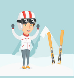 Young caucasian skier standing with raised hands vector