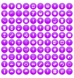 100 ice cream icons set purple vector