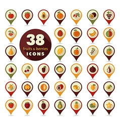 Set of fruits and berries pin map icon vector
