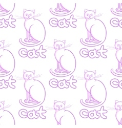 Cute line art cats seamless pattern with vector