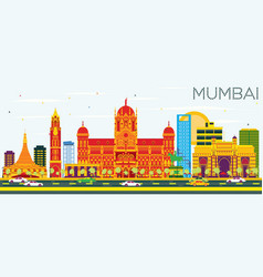 Mumbai skyline with color buildings and blue sky vector