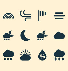 Nature icons set collection of moisture wet vector