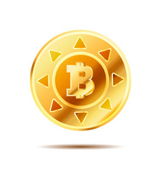 Bright glossy golden coin with bitcoin sign on vector
