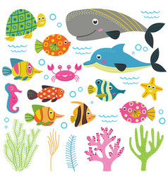 Set of isolated with animals sea part 2 vector