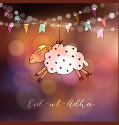Eid-ul-adha greeting card with hand drawn sheep vector