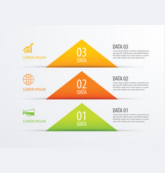 3 triangle timeline infographic options paper vector