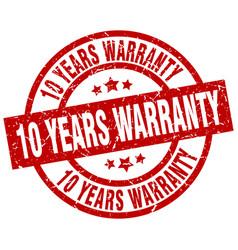 10 years warranty round red grunge stamp vector
