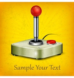 Retro joystick on yellow vector