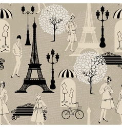 Seamless pattern - Effel Tower street lights old f vector image