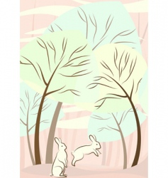 trees and rabbit vector image
