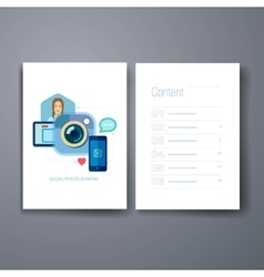 Modern mobile photo and selfie flat icon cards vector